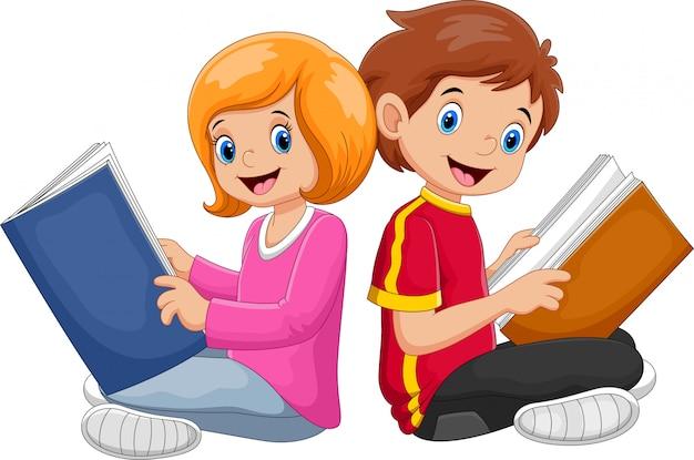 Jongen en meisje leesboek Premium Vector