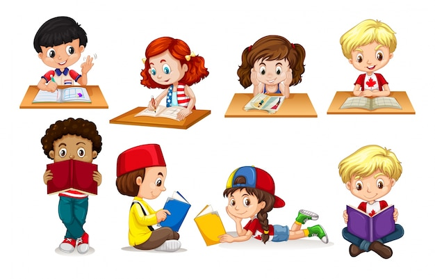 Jongen en meisje lezen en schrijven illustratie Gratis Vector