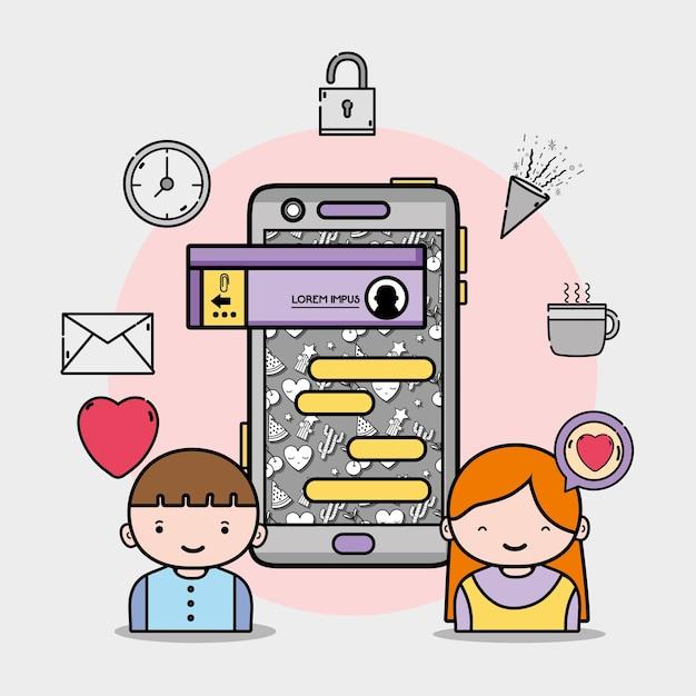 Jongen en meisje liefhebber met praatjebel bericht Premium Vector