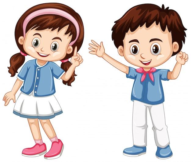 Jongen en meisje met blij gezicht Gratis Vector