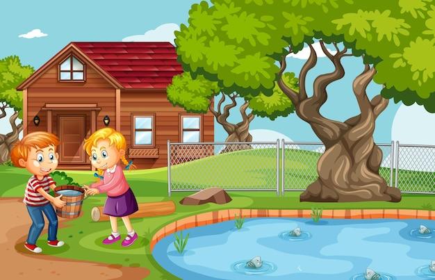Jongen en meisje met een houten emmer vol water in de natuurscène Gratis Vector