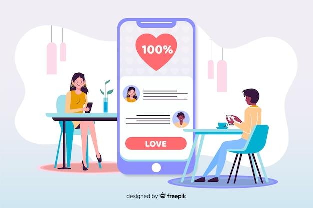 Jongen en meisje met geïllustreerde dating app Gratis Vector
