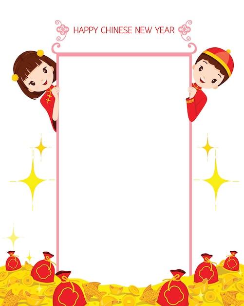 Jongen en meisje op banner, traditionele viering, china, gelukkig chinees nieuwjaar Premium Vector