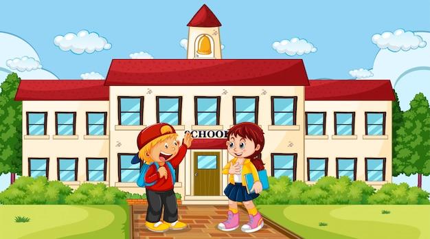 Jongen en meisje op school Gratis Vector