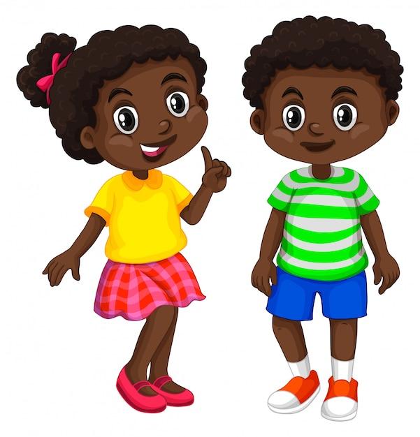 Jongen en meisje uit haïti Gratis Vector
