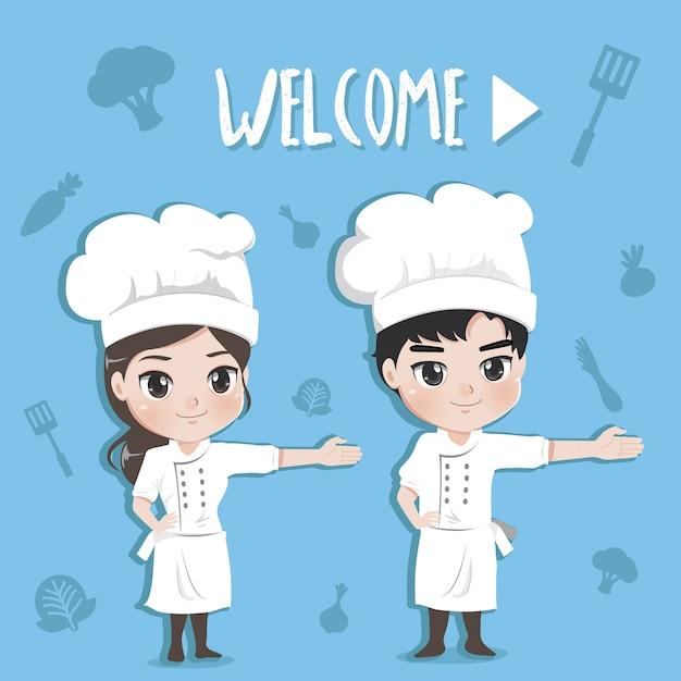 Jongen en meisje van chef-koks verwelkomen de klant met een gelukkige en tevreden uitdrukking, Premium Vector
