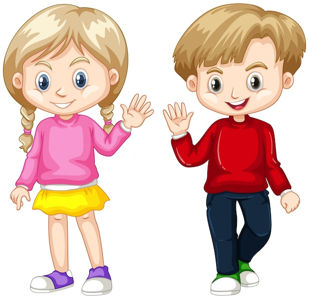 Jongen en meisje zwaaiende handen Gratis Vector
