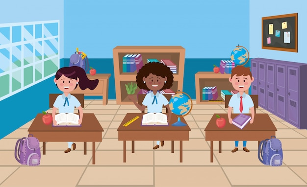 Jongen en meisjes in schoolklas Gratis Vector