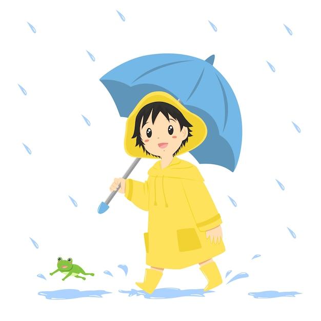 Jongen in gele regenjas en met een blauwe paraplu Premium Vector