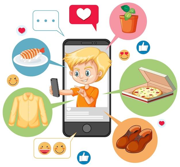 Jongen in oranje overhemd zoeken op smartphone stripfiguur geïsoleerd op een witte achtergrond Gratis Vector