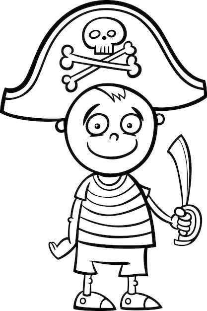 jongen in piraat kostuum kleurplaat premium vector