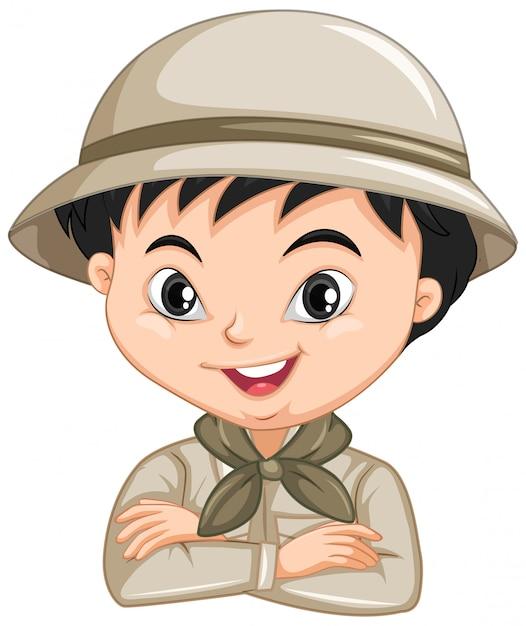Jongen in safari-uniform Premium Vector