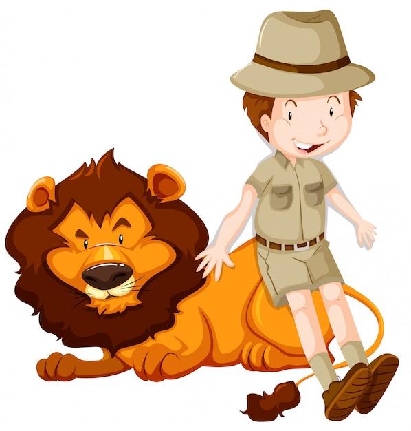 Jongen in safarikostuum en wilde leeuw Gratis Vector