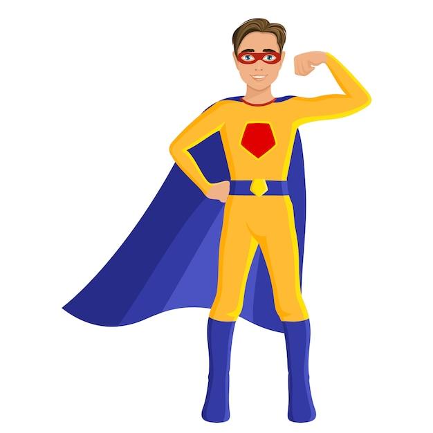 Jongen in superheld kostuum Premium Vector