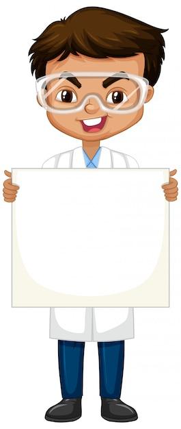 Jongen in wetenschapstoga met whiteboard op wit Gratis Vector