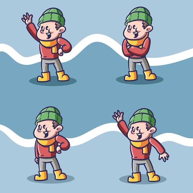 Jongen in winter illustratie Premium Vector