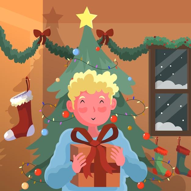 Jongen krijgt een kerstcadeau Gratis Vector