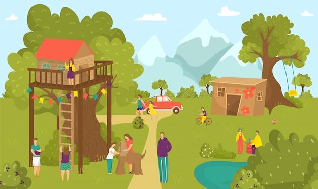 Jongen meisje kinderen activiteit bij zomerboomhut, gelukkige jeugd bij natuurpark illustratie. mensen bij huislandschap, leuke kinderen in de buurt van tuinhouten huis. spelen op schommel, bouwen. Premium Vector