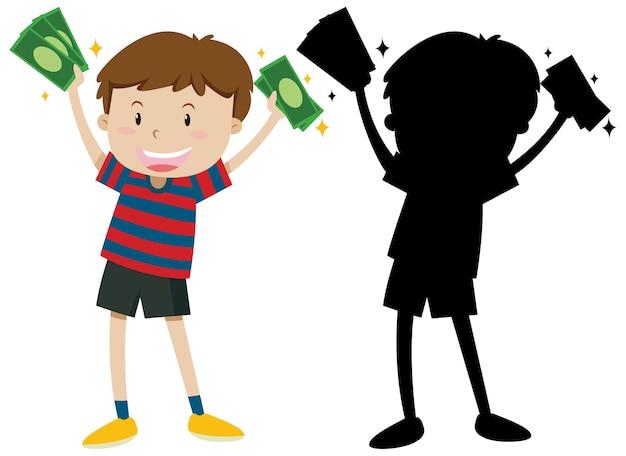 Jongen met bankbiljetten in kleur en silhouet Gratis Vector