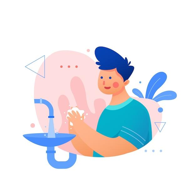 Jongen met blauw haar dat zijn handen wast Gratis Vector