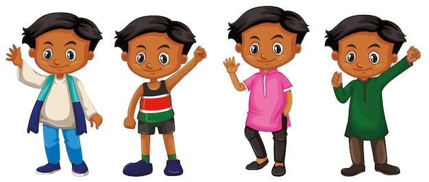 Jongen met blij gezicht in verschillende kostuum vier Gratis Vector