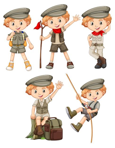 Jongen met blij gezicht in verschillende kostuums Gratis Vector