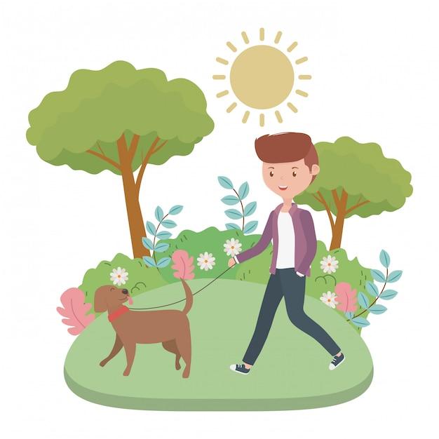 Jongen met hondbeeldverhaal Gratis Vector