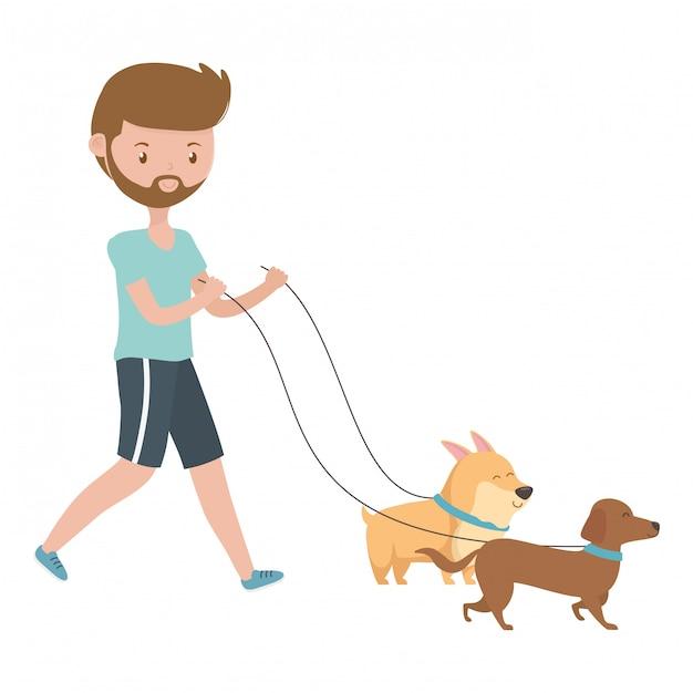 Jongen met honden van tekenfilms Gratis Vector