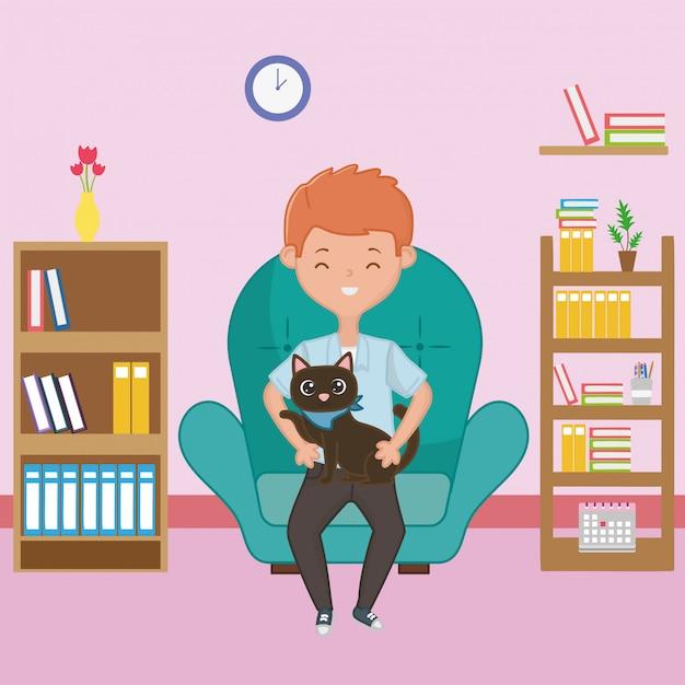 Jongen met kat cartoon ontwerp Gratis Vector