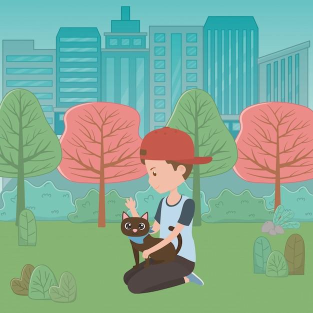 Jongen met kat van cartoon Gratis Vector