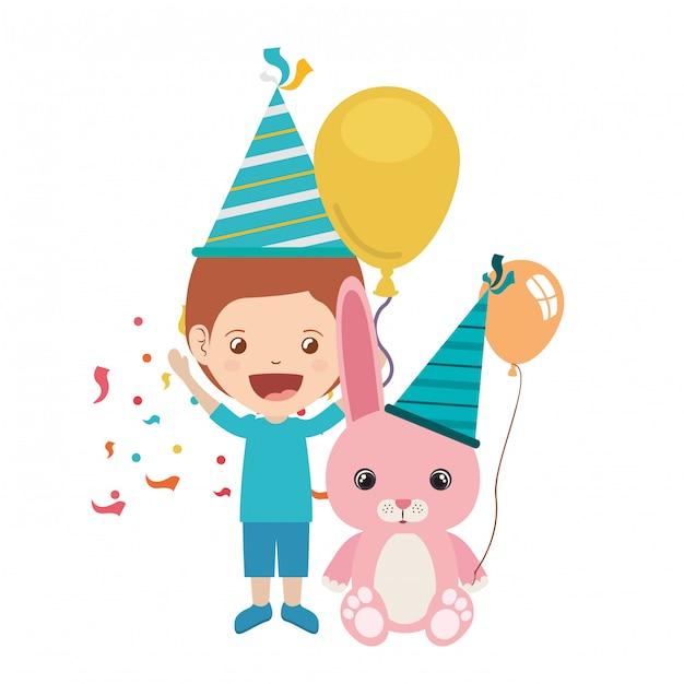 Jongen met konijntje in verjaardagsviering Premium Vector