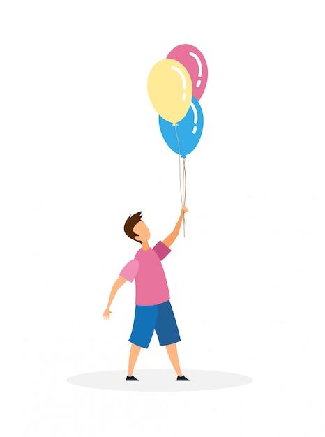 Jongen met opblaasbare ballonnen Premium Vector
