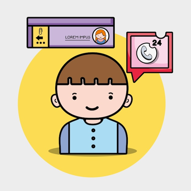 Jongen met praatjebel sociaal bericht Premium Vector