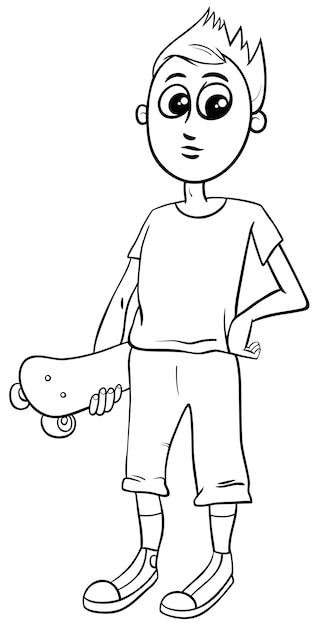 jongen met skateboard kleurplaat premium vector