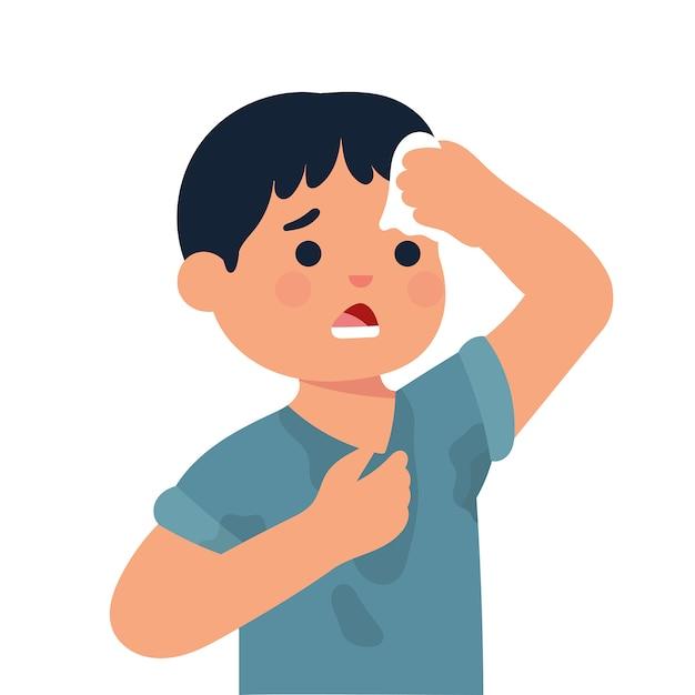 Jongen met zweterige kleren, jongen veegt zijn hoofd af met tissue Premium Vector