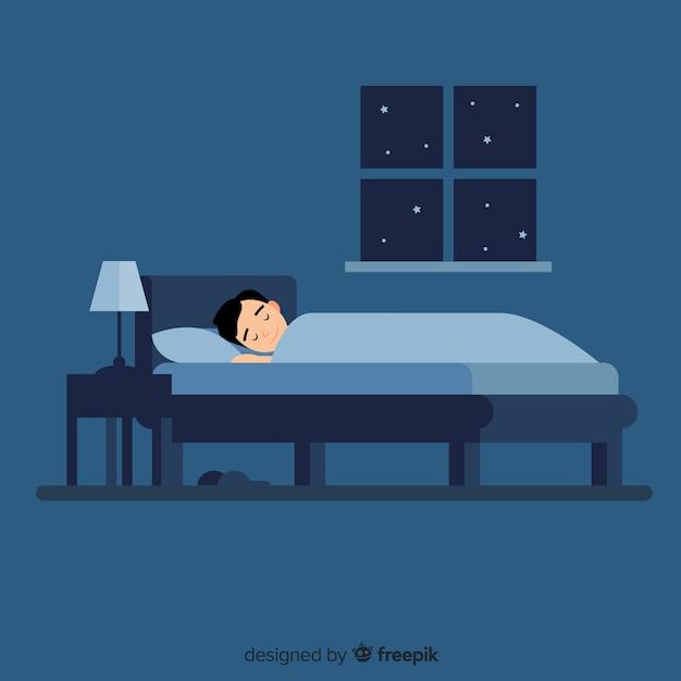 Jongen slapend in bed Gratis Vector