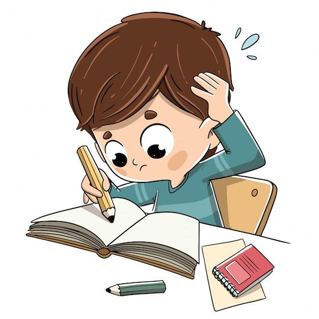 Jongen studeren met stress en bezorgd Premium Vector