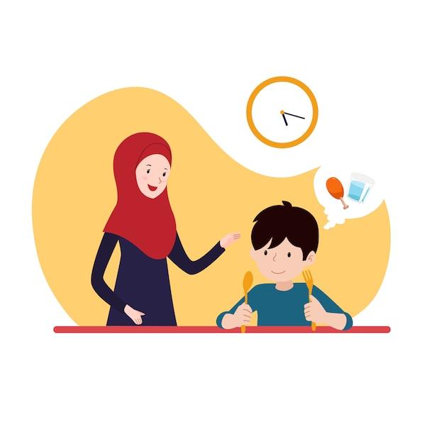 Jongen wacht op iftar time-break vasten met zijn moeder dragen hijab. familie ramadan activiteit Premium Vector