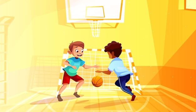 Jongens die basketbalillustratie van zwart afro amerikaans jong geitje met bal in schoolgymnasium spelen Gratis Vector