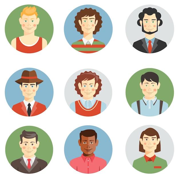 Jongens en mannen worden geconfronteerd met pictogrammen in vlakke stijl met kapsels van verschillende leeftijden Gratis Vector