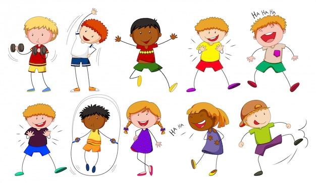 Jongens en meisjes doen verschillende activiteiten Gratis Vector