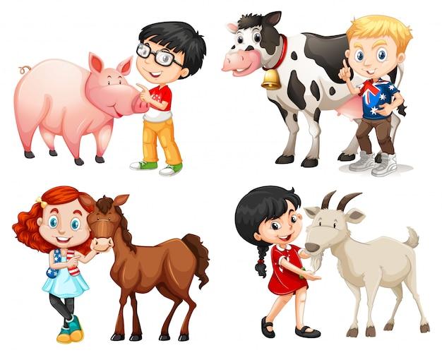 Jongens en meisjes met boerderijdieren Gratis Vector