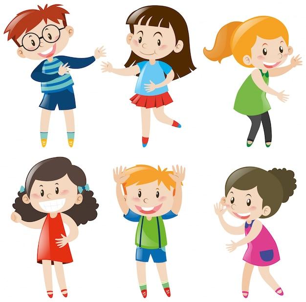 Jongens en meisjes met gelukkig gezicht Gratis Vector