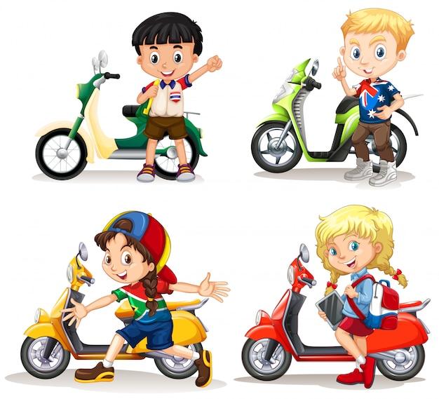 Jongens en meisjes rijden scooters Gratis Vector