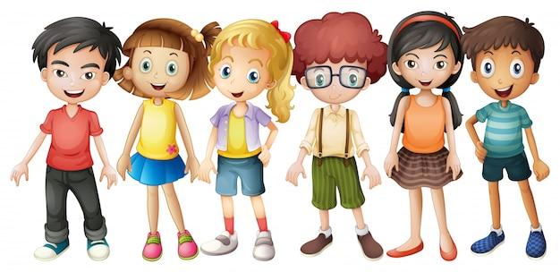 Jongens en meisjes staan in groep illustratie Gratis Vector