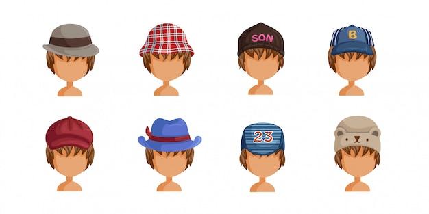 Jongens hoedenset. verzameling van jongensgezichten. userpics van kapsel verschillende kinderen. Premium Vector