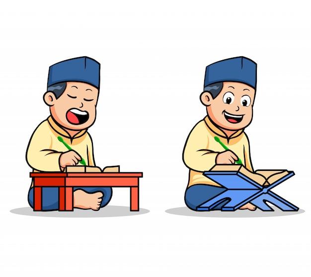 Jongens islamitische schoolkinderen die heilige koran lezen Premium Vector