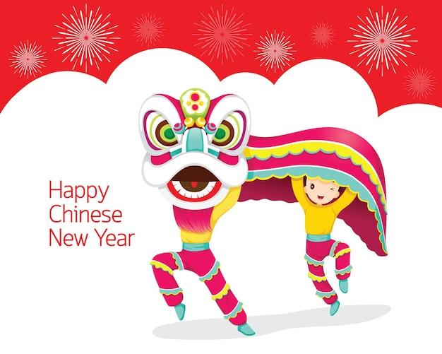 Jongens met lion dancing frame, traditionele viering, china, gelukkig chinees nieuwjaar Premium Vector