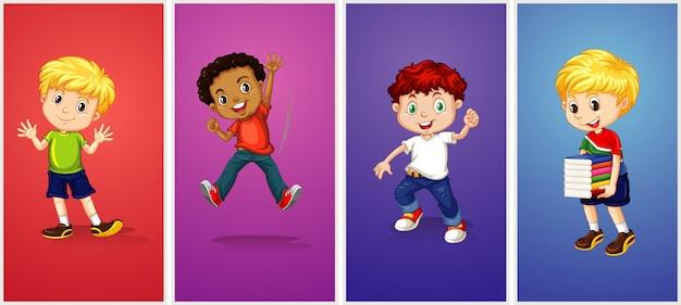Jongens op verschillende kleurenachtergrond Gratis Vector