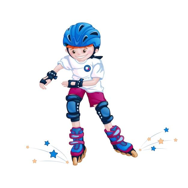 Jongens tiener rolschaatsen in een helm, elleboogbeschermers en kniebeschermers. Premium Vector